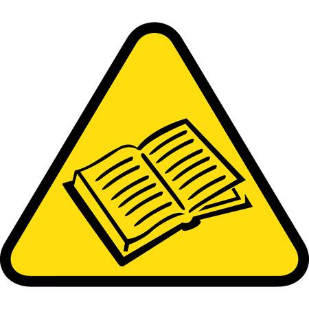 Board yellow triangle signage, book, magazine