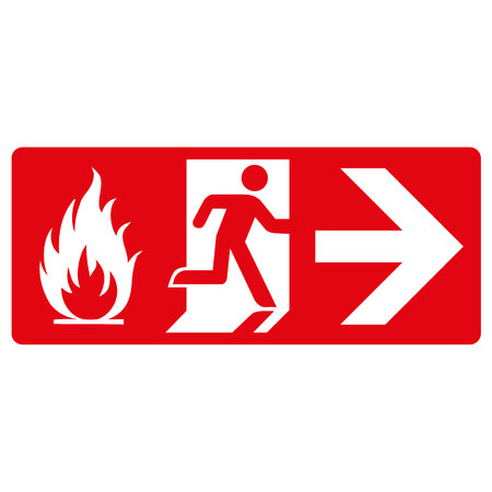 red signpost, fire output, on the right