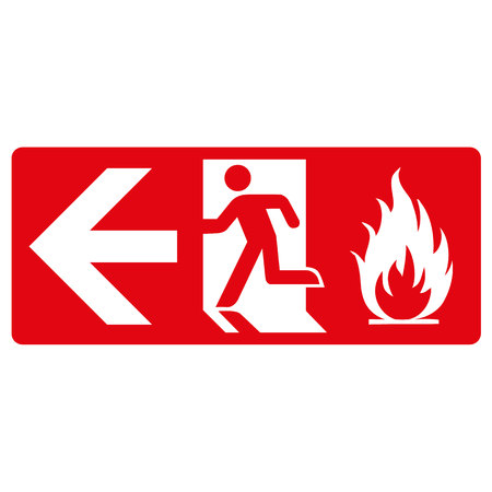 decorum: red signpost, fire output from the left