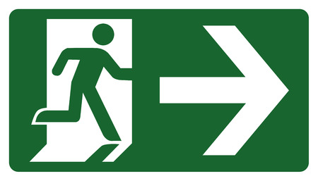 observant: signpost, leave, enter or pass through the door right. Ideal for visual