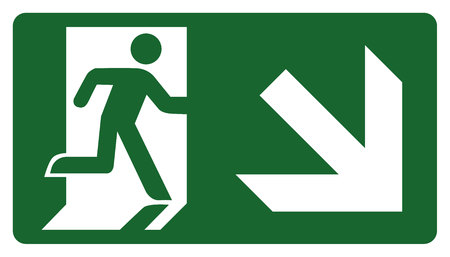 leave: signpost, leave, enter or pass through the door down the right. Ideal for visual communication Illustration