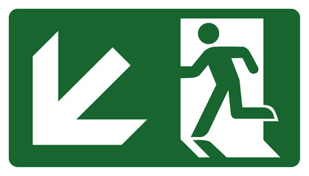 leave: signpost, leave, enter or pass through the door down the left. Ideal for visual communication Illustration