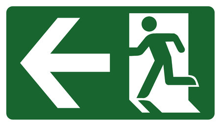 leave: signpost, leave, enter or pass through the door on the left. Ideal for visual communication and institutional materials