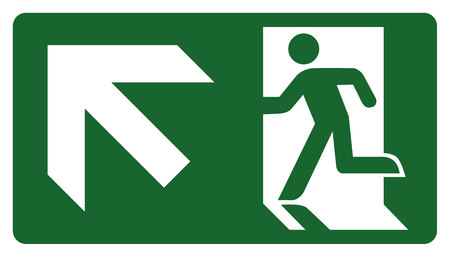 leave: signpost, leave, enter or pass through the door up the left. Ideal for visual communication and institutional materials Illustration