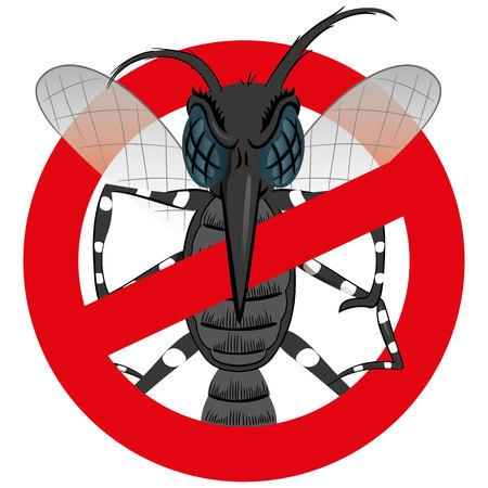 mosca caricatura: Naturaleza, zanco del mosquito Aedes Aegypti con señal de prohibición, de frente. Ideal para el saneamiento y la atención relacionada con el informativo e institucional Vectores