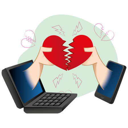 heartbreak: cell illustration mobile and notebook, people in the virtual loving separation Illustration