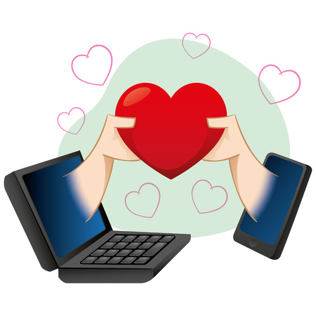 speed dating: cell illustration mobile and notebook, people in a virtual romance. Ideal for catalogs, informational and institutional guides