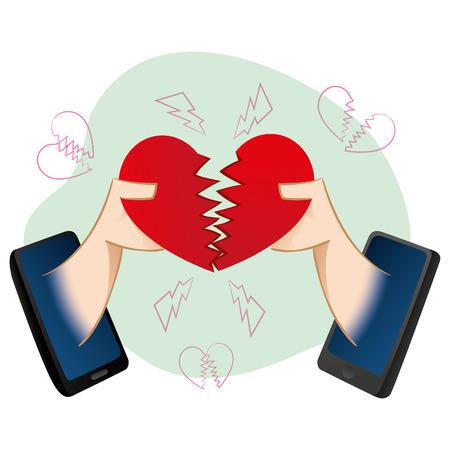 persone di telefonia mobile in una separazione virtuale d'amore