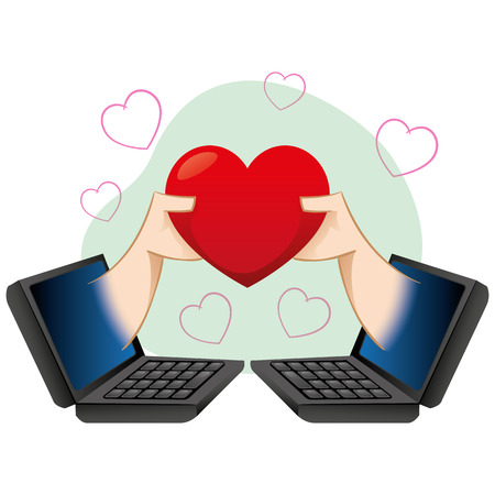 dating: notebook, people in the virtual romance
