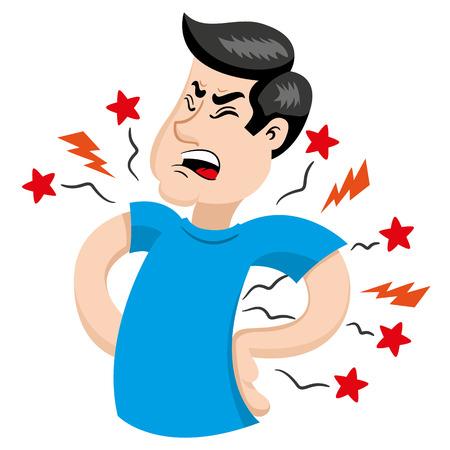 Mascot persoon man met rugpijn symptomen. Ideaal voor informatieve en institutionele betrekking tot de geneeskunde