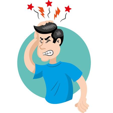 두통의 증상과 마스코트 인 남자. 의학 정보에 적합