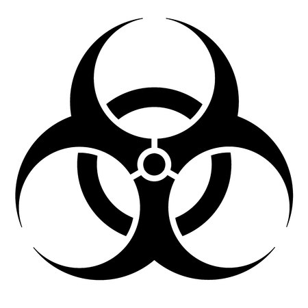 pathogens: Signage, biohazard icon, hospital and chemical waste. Ideal for visual communication and institutional materials