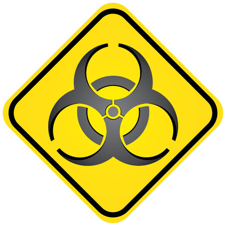 pathogens: Square road sign, icon biohazard, hospital and chemical waste. Ideal for visual communication and institutional materials