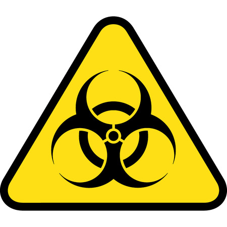 dangers: triangle road sign, icon biohazard, chemical and hospital waste