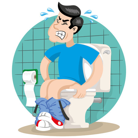 Mascot person man with diarrhea or stomach pain, symptom. Ideal for informational and institutional related to medicine