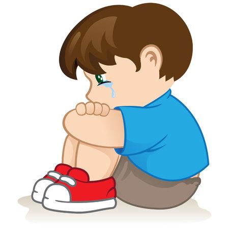 Ilustração de uma criança triste, impotente, tiranizando. Ideal para catálogos, materiais informativos e institucionais