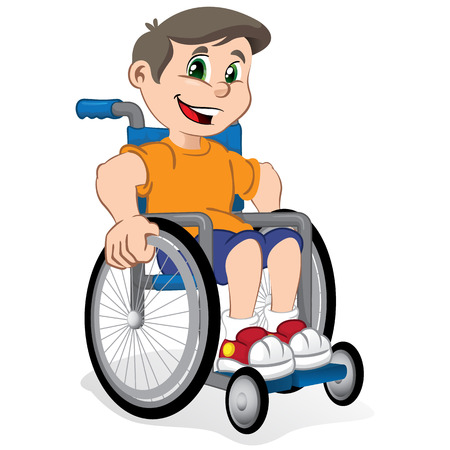 cartoon wheelchair: Illustration of a boy smiling child in a wheelchair. Ideal for catalogs, informational and institutional materials
