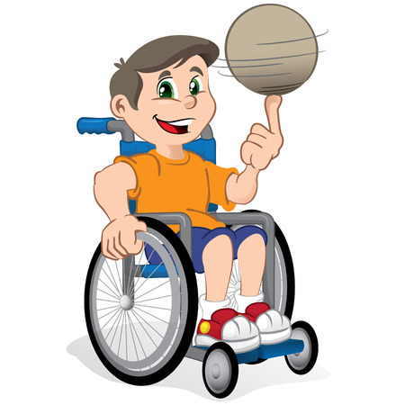 niños discapacitados: ilustración niño chico en silla de ruedas con una pelota, practicante de deporte. Ideal para catálogos, materiales de información y institucionales