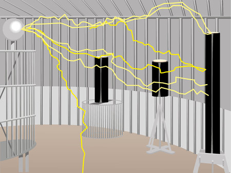 electrocution: Illustration shows senario protection system, Faraday cage, electrophysical experience. Ideal for institutional educational materials