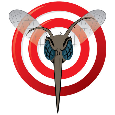yellow fever: Nature, Mosquito with stilt sights signal or target, Front head. Ideal for informational and institutional related sanitation and care