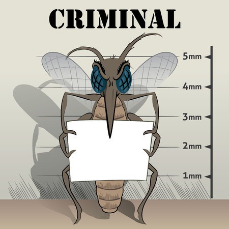 institutional: mosquitoes sting in jail, holding poster. Ideal for informational and institutional related sanitation and care