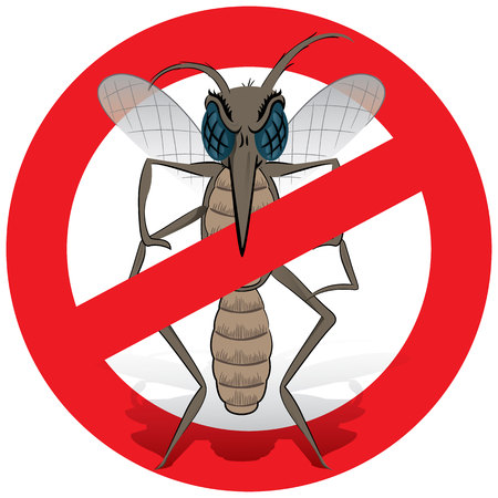 proliferation: Nature, Mosquito stilt with prohibited sign, front. Ideal for informational and institutional related sanitation and care Illustration