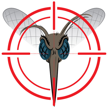institutional: Nature, Mosquito with stilt sights signal or target, Front head. Ideal for informational and institutional related sanitation and care