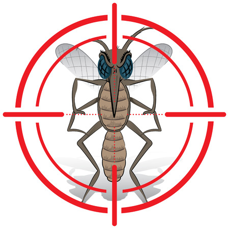 institutional: Nature, Mosquito with stilt sights signal or target, Front. Ideal for informational and institutional related sanitation and care Illustration