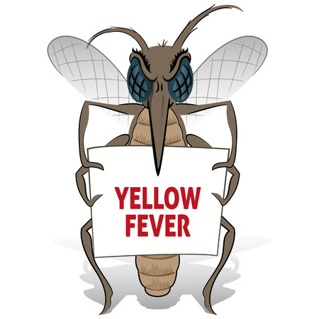 institutional: Mosquito stilt holding poster yellow fever. Ideal for informational and institutional related sanitation and care