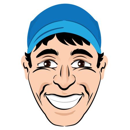persona feliz: Ilustración cabeza de la persona y la cara de un personaje masculino sonriente feliz. Ideal para materiales institucionales