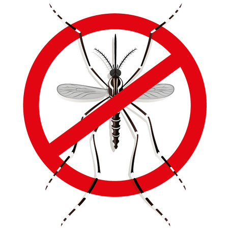 institutional: Nature, Aedes Aegypti mosquitoes stilt with prohibited sign, top view. Ideal for informational and institutional related sanitation and care