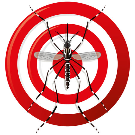 malaria: Nature, Aedes Aegypti mosquitoes stilt with sight signal or target, top view. Ideal for informational and institutional related sanitation and care Illustration