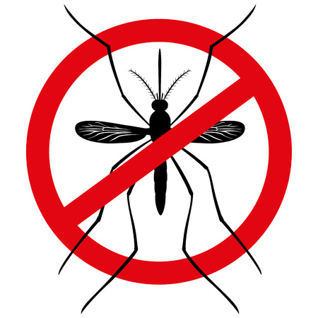 infestation: Nature, silhouette stilt mosquitoes with prohibited sign, top view. Ideal for informational and institutional related sanitation and care Illustration