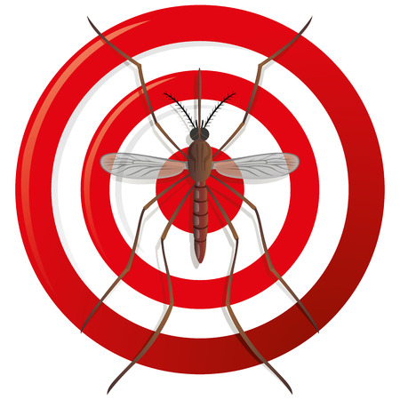 mosquitoes: Nature, mosquitoes stilt with sight signal or target, top view. Ideal for informational and institutional related sanitation and care Illustration