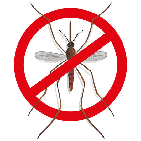 etymology: Nature, mosquitoes stilt with prohibited sign, top view. Ideal for informational and institutional related sanitation and care Illustration