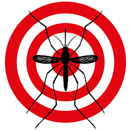 yellow fever: Nature, Mosquito silhouette stilt with sight signal or target, top view. Ideal for informational and institutional related sanitation and care