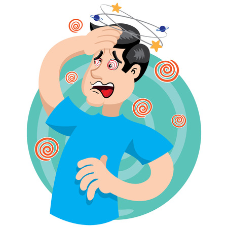 first aid scene illustration shows a person reeling with dizziness. Ideal for catalogs, information and medical guides