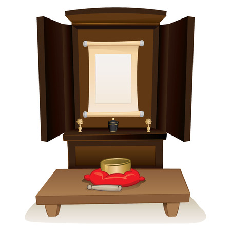 Illustration of a Buddhist shrine for offerings and prayers, philosophy religion. Ideal for institutional and religious materials
