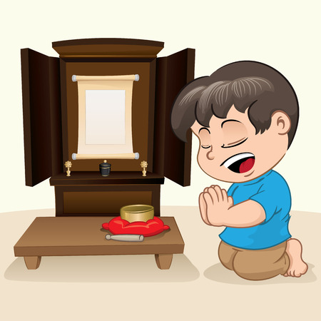 Illustration of a child meditating and praying against the Buddhism of oratory, philosophy, religion. Ideal for institutional and religious materials