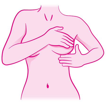 Illustration of a woman touching her breasts doing self-examination for breast cancer, prevention and diagnosis for life. Ideal for institutional and educational materials