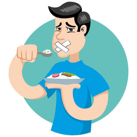 Illustration of a person with no appetite, fasting or making diet. Ideal for catalogs, informational and institutional materials on nutrition Ilustração