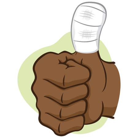 african descent: Illustration representing hand of a person with bandaged thumb, African descent. Ideal for informational and institutional materials