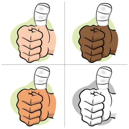informational: Illustration representing hand of a person with bandaged thumb, ethnic. Ideal for informational and institutional materials