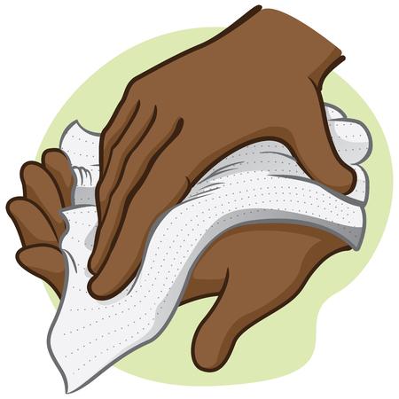 Illustration einer Person wischt und wischt sich die Hände mit einem Papiertuch oder Serviette, afrikanischer Abstammung. Ideal für institutionelle Materialien und Kataloge Vektorgrafik