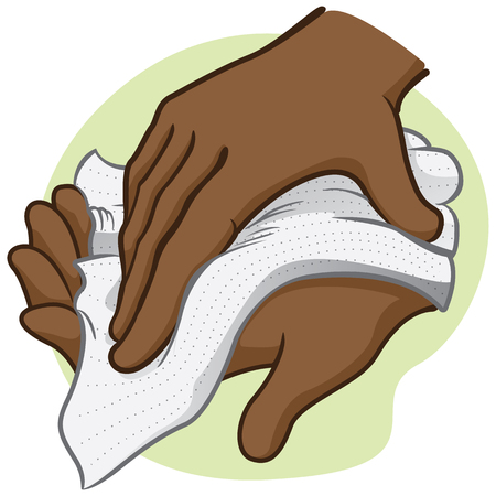 Illustration of a person wiping and wiping his hands with a paper towel or napkin, African descent. Ideal for institutional materials and catalogs