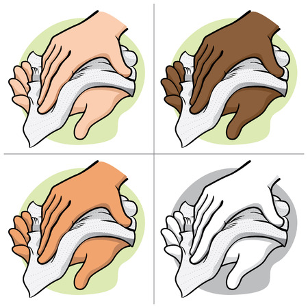 Illustration of a person wiping and wiping his hands with a paper towel or napkin, ethnic. Ideal for institutional materials and catalogs