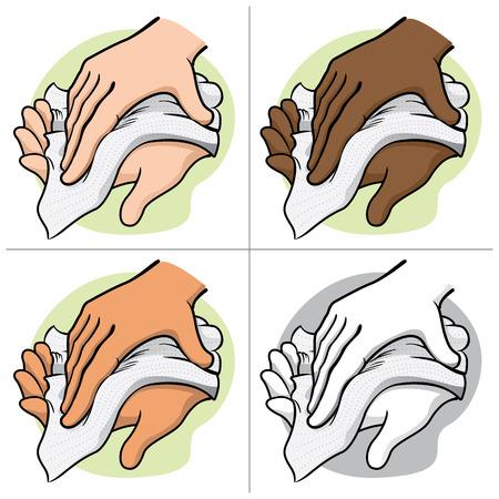 Ilustración de una persona que limpia y limpiándose las manos con una toalla de papel o una servilleta, étnico. Ideal para materiales institucionales y catálogos
