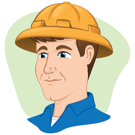 Illustration safety equipment man person using protective helmet laborer. Ideal for catalogs and institutional materials