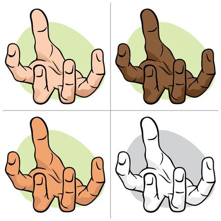 Carácter con la mano expuesta palma, solicitud o donación, étnico. Ideal para informativa e institucional