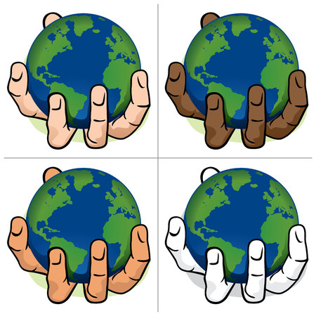 preservation: Character hand holding the planet Earth. ethnic. Ideal for informational and institutional